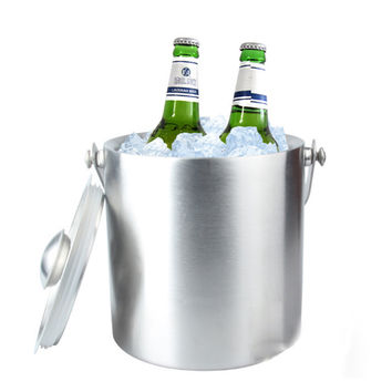 2L Double Layer Stainless Steel Portable Ice Buckets Barware Kitchen Tools Wine Champagne Cooling Barrel