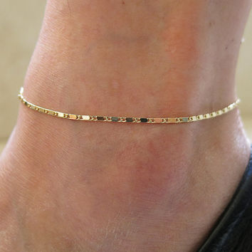 "9"" Gold delicate gold chain, adjustable Ankle leg Bracelet Anklet, gold anklet, beaded chain anklet, charm anklet, foot jewelry"