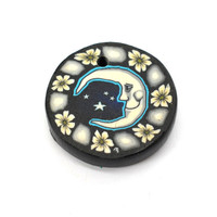 Moon and  Flowers  Fimo Pendant, 1pc, 25mm, Vintage Pendants,  Disc
