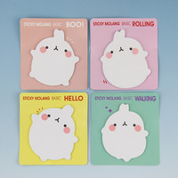 1pcs Cute Molang Rabbit Self Adhesive Memo Pad Sticky Notes Sticker Label Escolar Papelaria School Office Supply