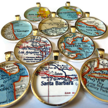 Map necklace pendant charms, Map Jewelry charms, photo pendant, pendants
