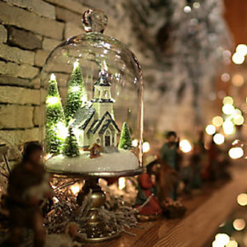 "Illuminated 13"" Holiday Scenes Under Glass w/Mirror Insert by Valerie - H205179 — QVC.com"