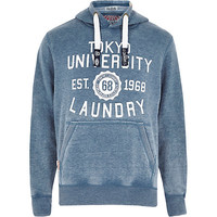 River Island MensWashed blue Tokyo Laundry logo hoodie