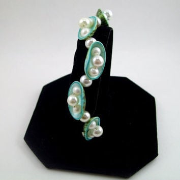 Turquoise Abalone Shell and Pearl Bracelet