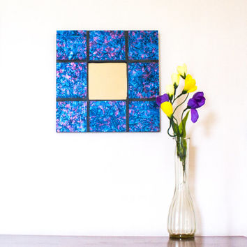 Mosaic Mirror, Stained Glass, Contemporary Decor, Decorative Accents, Modern Wall Mirror, Pink and Blue, Cool Wall Art, Unusual Gifts