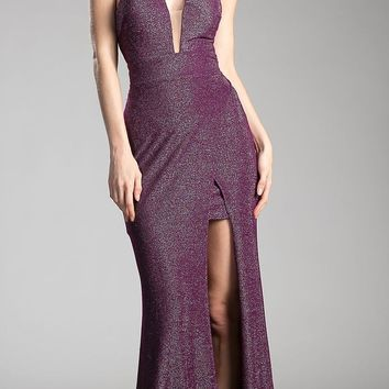 Purple Cut Out Bodice and Back Long Prom Dress