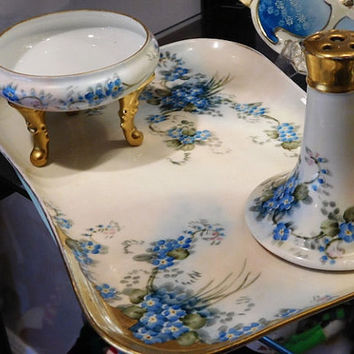 Antique Hand Painted Porcelain Vanity Set 1900s Victorian Limoges Royal Bayreuth Porcelain Blue Forget Me Nots Flowers Floral Artist Signed