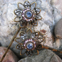 Bronze Flower Crystal Bobby Pins in Pink and Blue