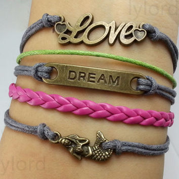 mermaid,dream,love Bracelet --Christmas gift, Bridesmaid Jewelry, Friendship Graduation Gifts