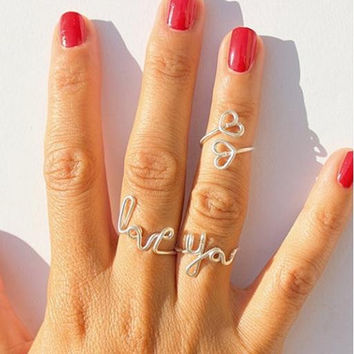 1Set Love You Double Heart Letter Alphabet Midi Finger Ring Knuckle Ring For WOmen Fine Jewelry Wedding Ring Set