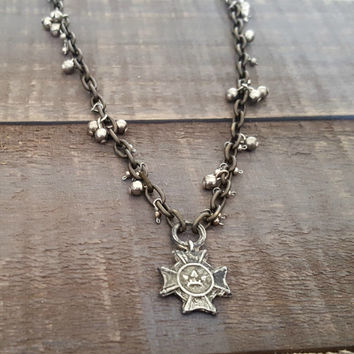 Antique Brass Oxidized Silver Celtic Cross Necklace, Rustic Antique Silver Vintage Cross Necklace, Rustic Jewelry, Patina Distressed Edgy