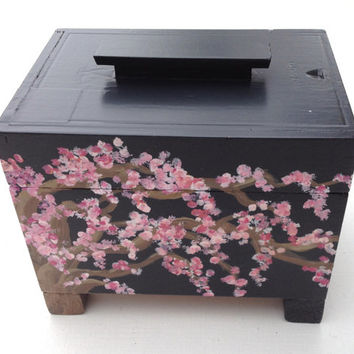 Cherry Blossom Jewelry Box  // Ring Bearer Box // upcycled cigar box //  Trinket / Treasure / Recipe Memory Wedding sale