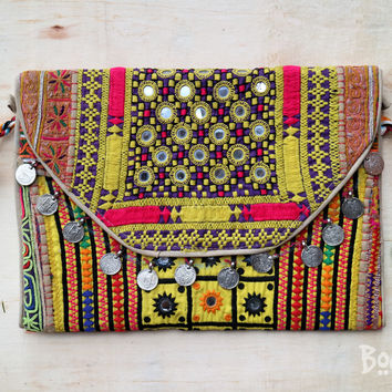 Banjara Boho embroidery purse/clutch/Ipad case