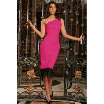 Fuchsia Hot Pink Stretchy One-Shoulder Bodycon Party Dress - Women