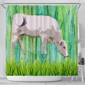 Chianina Cattle (Cow) Art Print Shower Curtain-Free Shipping