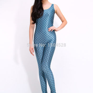 Olso knitting OLS-0798 Sexy Ladies Mermaid jumpsuit New 2015 Siamese trousers The nightclub stage outfit one piece Sexy bodysuit