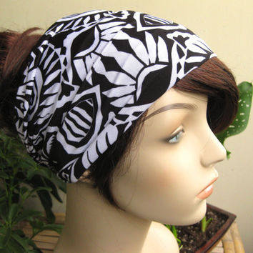 Back and White Tribal Jungle Turban, Head Wrap, Wide Hair Tube, Women's Yoga Wrap, Turband, Slip On Headband, Stretchy Headband