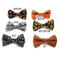 Dog Collar Bow Tie - Dog Collar Bow - Halloween Dog - Orange and Black Dog - Black and White Dog - Skull Dog Bow - Spider Dog Bow