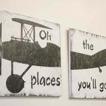 Oh The Places You'll Go Distressed Wood Sign Vintage Propeller Airplane Wall Art Boys Nursery Decor Nursery Sign Black and White Nursery