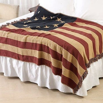 Old Glory Betsy Ross Flag Woven Throw 50X60 by VHC
