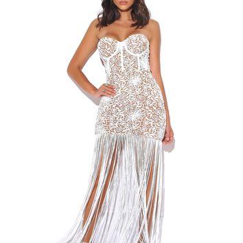 Become The One White Lace Long Fringed Strapless Dress