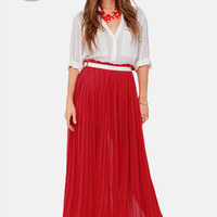 LULUS Exclusive Right Pleats, Right Time Red Maxi Skirt
