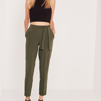 Missguided - Tie Belt Crepe High Waist Pants Khaki