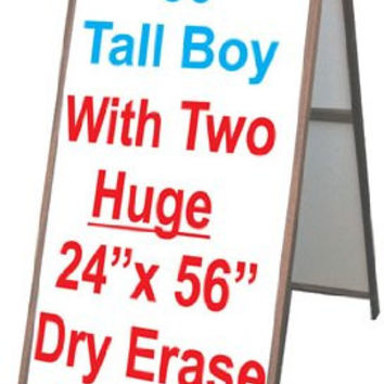 "Wood A-frame 25"" x 60"" Double Sided Sidewalk Sign w/Dry Erase Insert Panels"