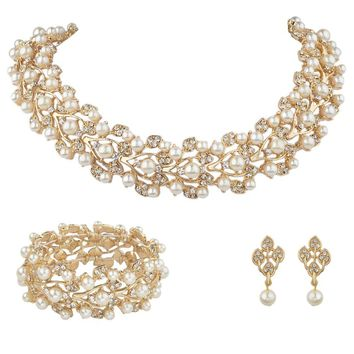 BELLA Gold Tone Leaf Wedding Necklace Earrings Bracelet Jewelry Set Faux Ivory Pearls Austrian Crystal Bridal Jewelry Set