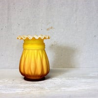 vintage glass vase // kanawha cased satin glass // yellow gold 1960s