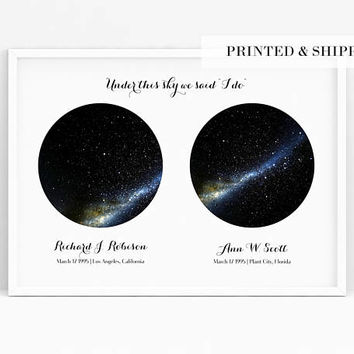 Constellation Map Custom Print, Two Night Sky, REAL Night Sky Print, Custom Star Poster, Wedding Gift, Engagement Gift, Important Dates Gift