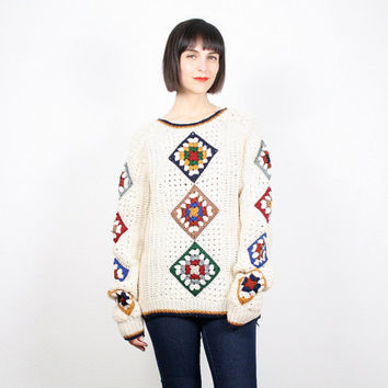 Vintage Hippie Sweater Cream Ivory Rainbow Knit Granny Squares Blanket Jumper Pullover Granny Square Crochet Sweater Boho M Medium L Large