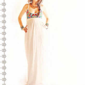 Flor de Mar embroidered Mexican vintage maxi dress by AidaCoronado
