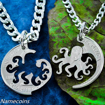 Octopus Best Friends Necklaces, Inside and Outside Octupus that fits into each other, Unique Hand Cut Coin