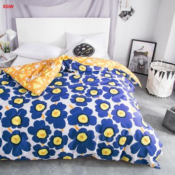 Home Textile 1pc duvet cover blue flower pirnted 100% cotton quilt cover twin full queen King comforter cover linen Bedding set