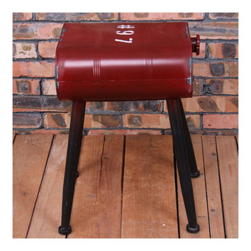 Vintage Oil Bucket Iron Stool Bar Cafes Chair   red