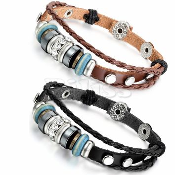SHIPS FROM USA 2pcs Mens Womens Leather Bracelet Surfer Wrap Bangle Charm Beads Braided Multilayer Bracelet Black Brown pulseira masculina