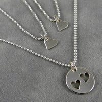 Mother Two Daughter Heart Necklaces - Sterling Heart Charms - Twins - 2 Daughters