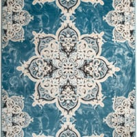 4627 Turquoise Medallion Traditional Area Rugs