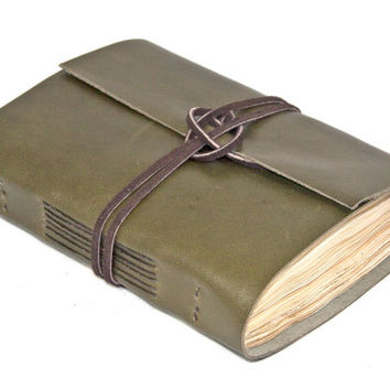 Olive Green Leather Journal with Tea Stained Paper  - Ready To Ship -