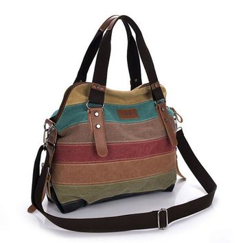 Canvas Striped High Quality Casual Big Tote Hand and Shoulder Bag