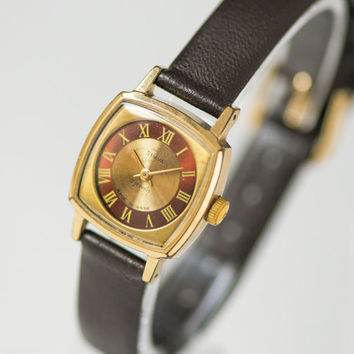 Burgundy gold face women watch Glory, small square lady's wristwatch, modern ladies watch, water protected watch, premium leather strap new