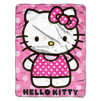 Hello Kitty-Kitty Dot Micro Raschel Throw (46in x 60in)