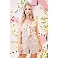 Jenny Tie Front Printed Romper, LT Taupe