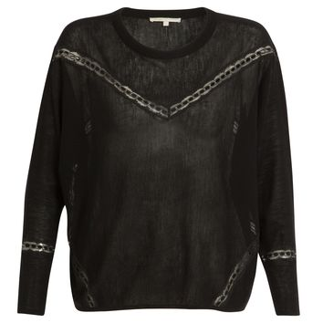 maje GRAVURE Wool and lace sweater at Maje US