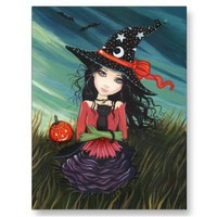 Halloween Postcard Witch Black Cat from Zazzle.com