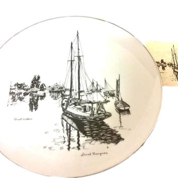 Vintage Barrymore Series Collector Plate Quiet Waters Sterling Medallion