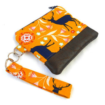 Blue Stag Wristlet Clutch - Deer Yellow Floral Faux Leather Zipper Pouch