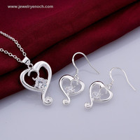 Brilliant Heart Shaped Brass Nickel And Lead Free Gemstone 925 silver plated Jewelry Sets