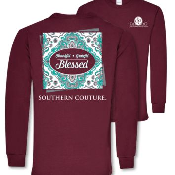 Southern Couture Preppy Thankful Grateful Blessed Long Sleeve T-Shirt